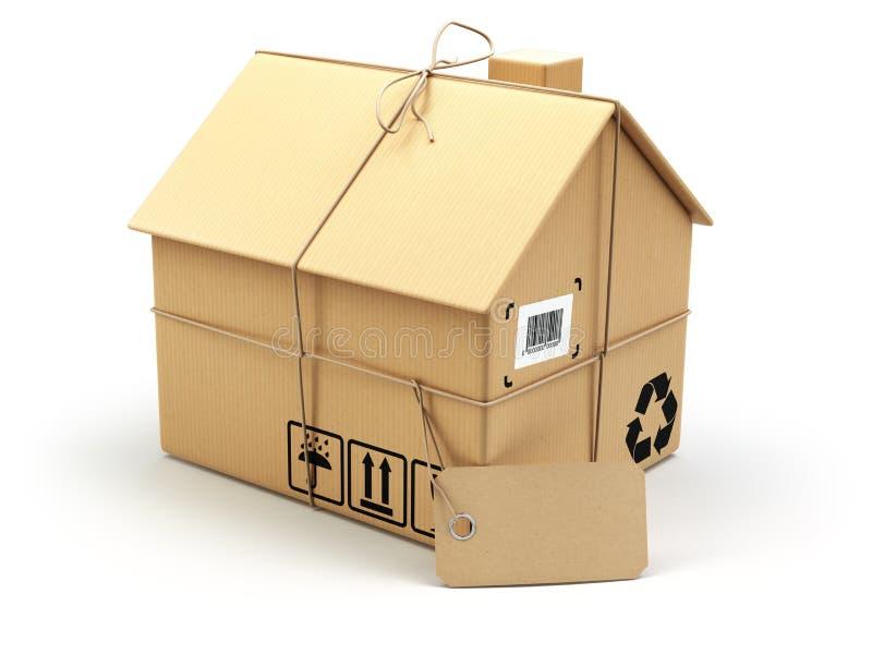 белизна принципиальной схемы изолированная поставкой двигать дома Рынок недвижимости Картон bo иллюстрация штока