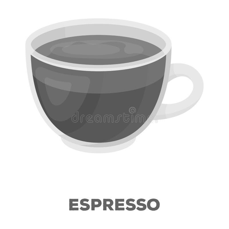 белизна путя кофейной чашки предпосылки изолированная espresso Разные виды кофе определяют значок в monochrome сети иллюстрации з иллюстрация вектора