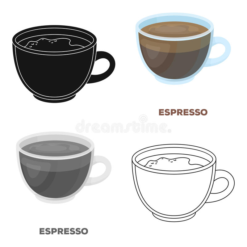 белизна путя кофейной чашки предпосылки изолированная espresso Разные виды кофе определяют значок в сети иллюстрации запаса симво иллюстрация штока