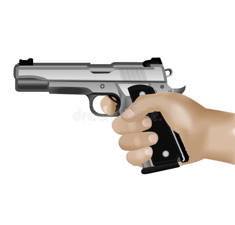 белизна руки пушки предпосылки изолированная удерживанием иллюстрация вектора