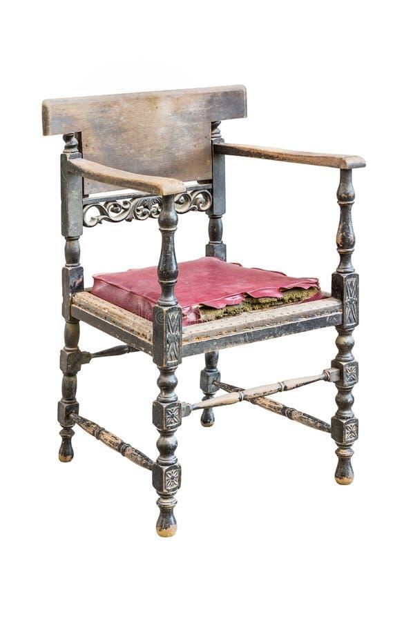 белизна сбора винограда путя стула изолированная клиппированием стоковая фотография