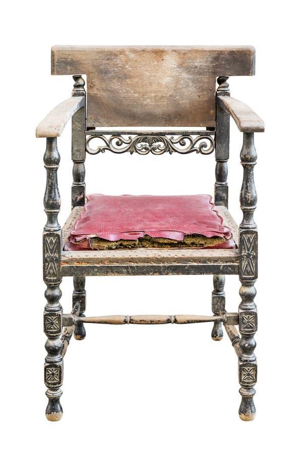 белизна сбора винограда путя стула изолированная клиппированием стоковые изображения