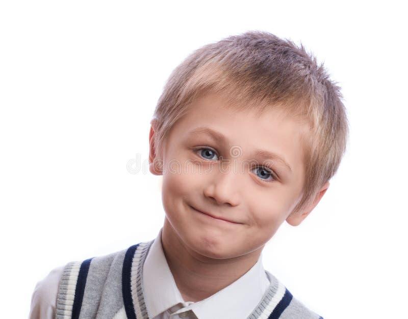 белизна студии съемки мальчика предпосылки стоковые изображения