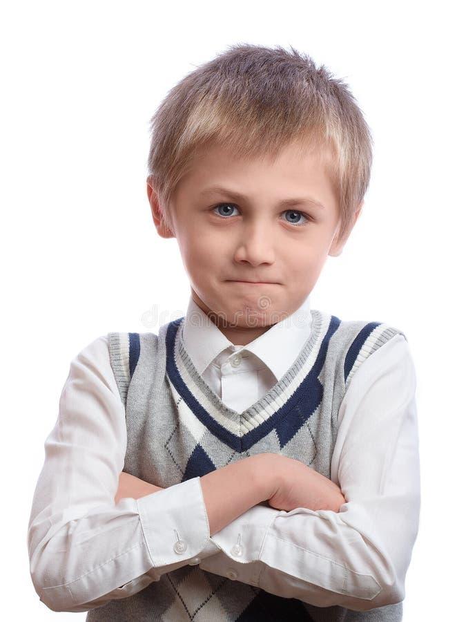 белизна студии съемки мальчика предпосылки стоковая фотография rf