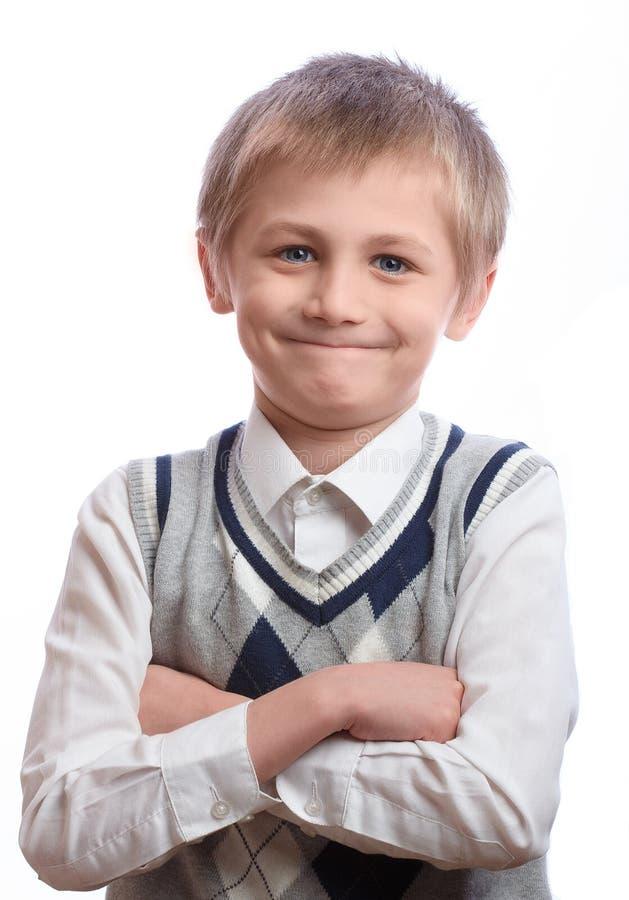 белизна студии съемки мальчика предпосылки стоковые фотографии rf