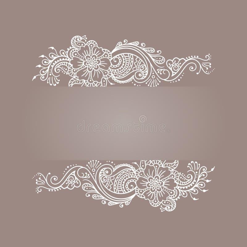 Белизна татуировки хны Mehndi флористического орнамента стоковые изображения rf