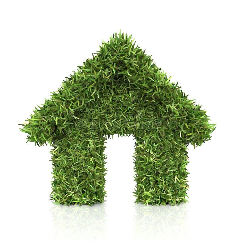белизна травы изолированная домом Изолировано на белизне иллюстрация вектора