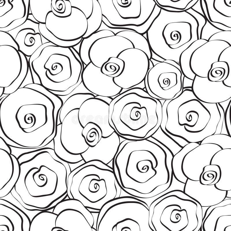белизна черной флористической картины безшовная иллюстрация вектора
