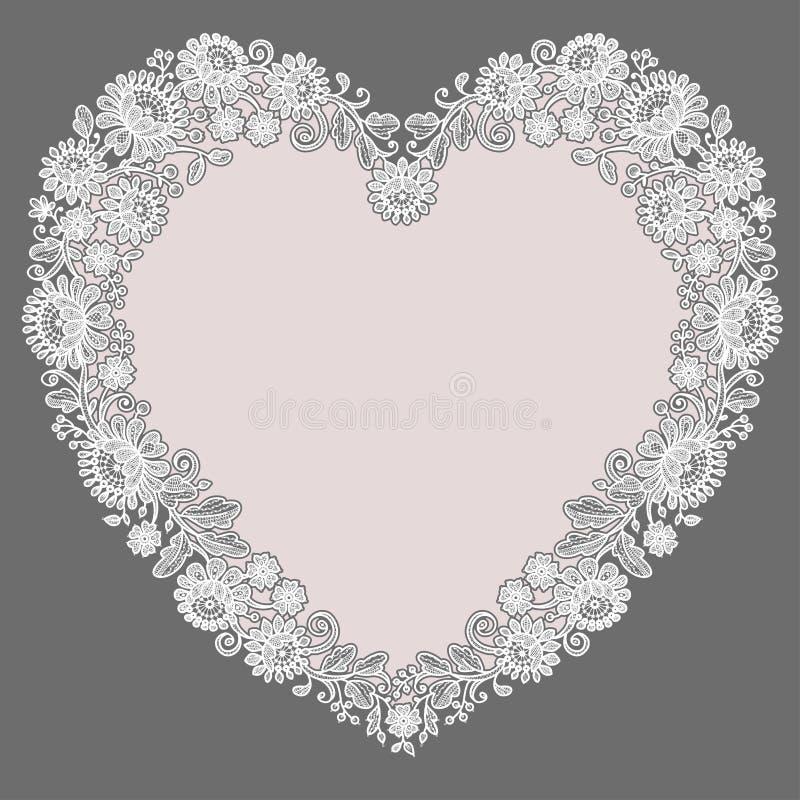 белизна шнурка Рамка формы сердца Розовая предпосылка иллюстрация вектора