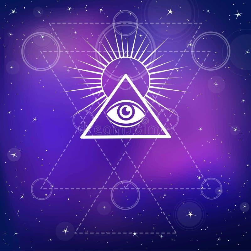 белизна экрана providence глаза предпосылки Полностью видя глаз внутри пирамиды треугольника иллюстрация штока