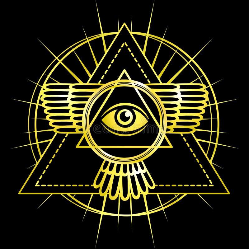белизна экрана providence глаза предпосылки Полностью видя глаз внутри пирамиды треугольника бесплатная иллюстрация