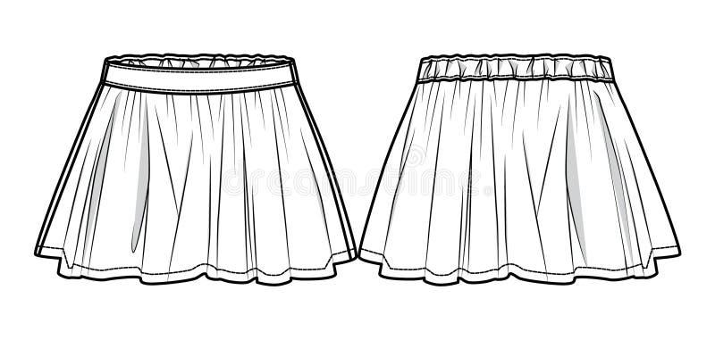 Белизна flared юбка иллюстрация вектора
