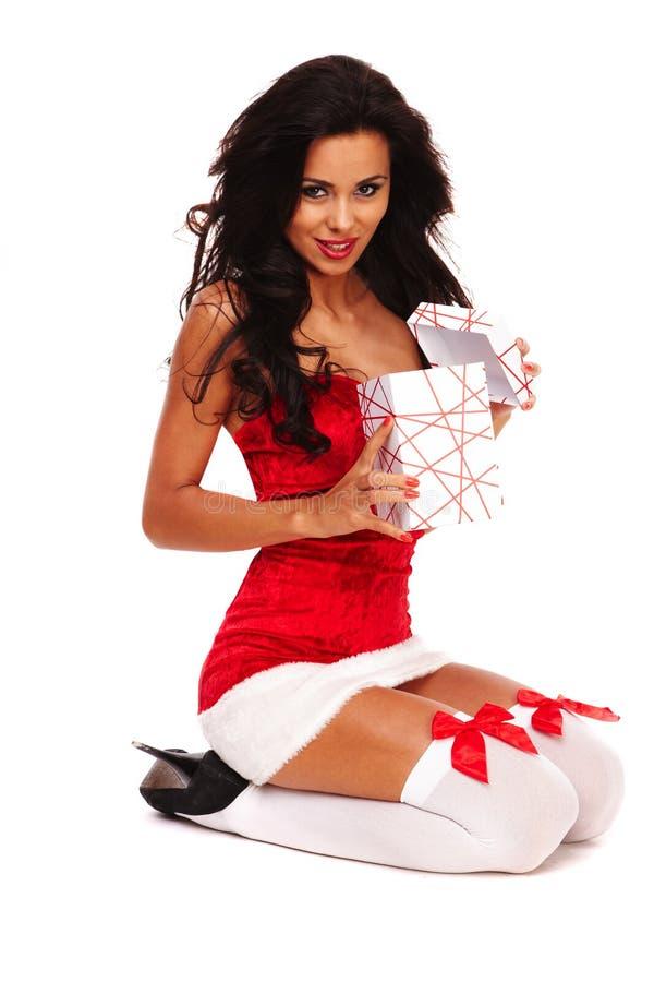 белизна santa хелпера девушки предпосылки стоковая фотография