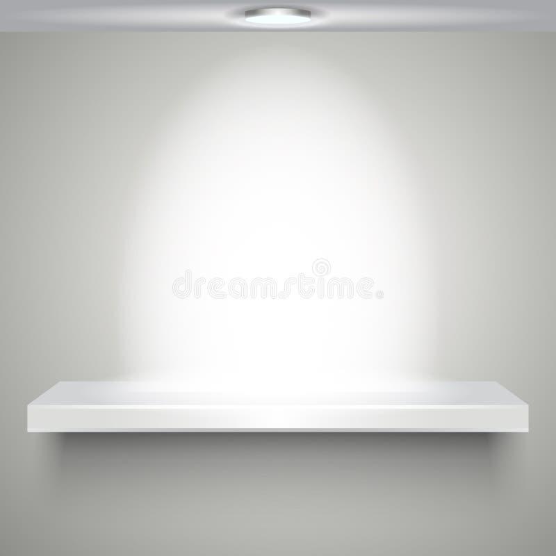 Белизна shelve с освещением иллюстрация вектора