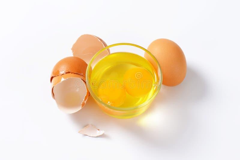Белизны и желтки яичка в стеклянном шаре стоковые изображения rf