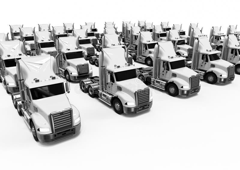 Белое американское парко грузовых автомобилей бесплатная иллюстрация