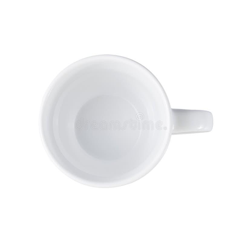 Белое взгляд сверху кофейной чашки изолированное на белизне стоковое фото