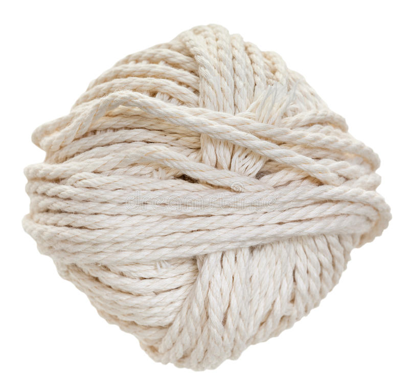 Белое изолированное пасмо веревочки хлопка стоковое фото rf