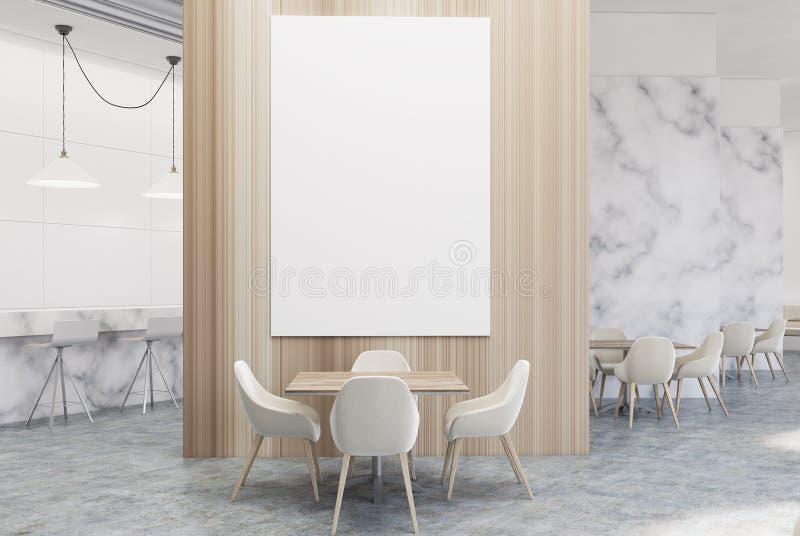 Белое кафе мрамора и древесины роскошное с плакатом иллюстрация вектора