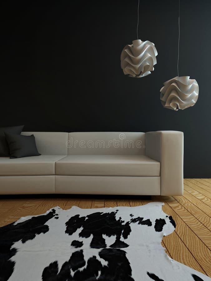 Белое кресло против черной стены с ковром иллюстрация вектора