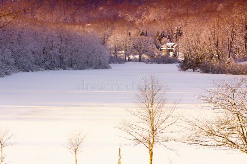Белое озеро зимы стоковое изображение rf