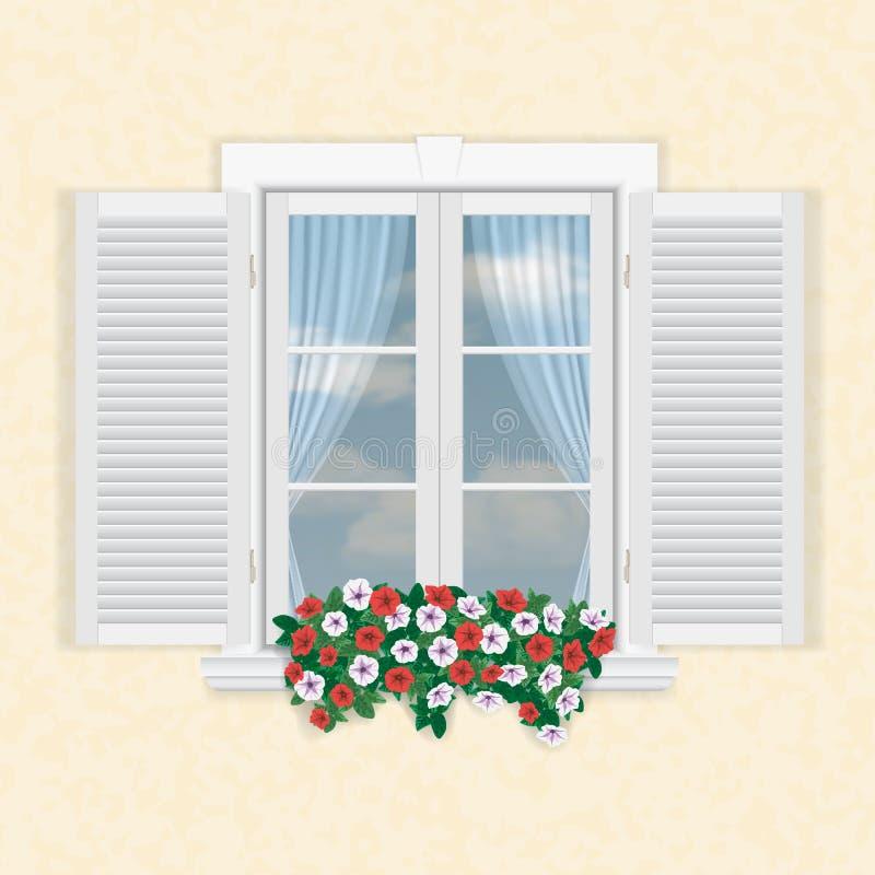 Белое окно с штарками и цветками бесплатная иллюстрация