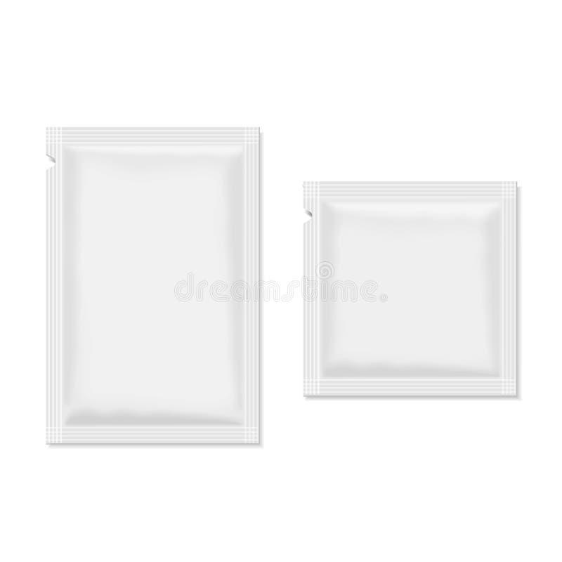 Белое пустое саше упаковывая для еды, косметик иллюстрация штока