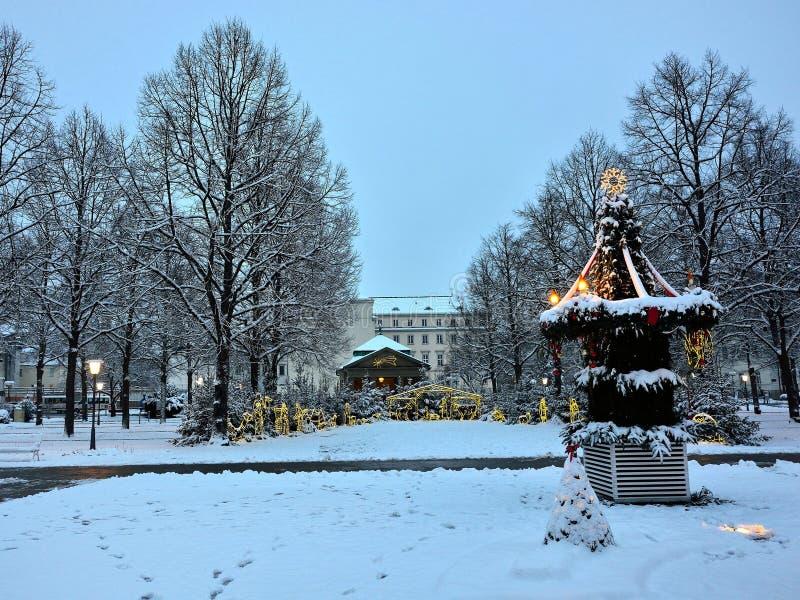 Белое рождество в снежном парке с освещенной кормушкой стоковые фотографии rf