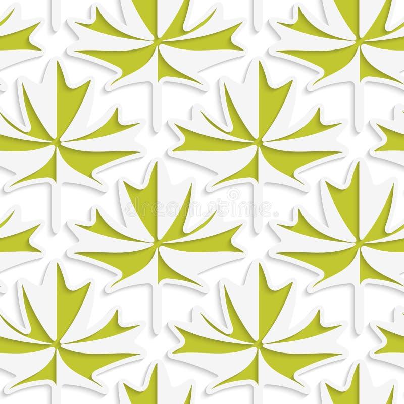 Белое 3D с кленовыми листами цветов зелеными иллюстрация штока