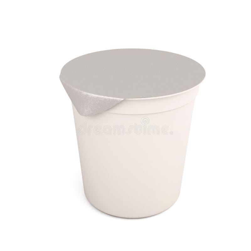 Белое kontener еды для югуртов, creams, обрабатываемые сыры иллюстрация вектора