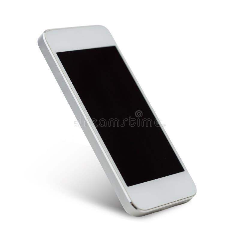 Белое smarthphone с пустым черным экраном стоковая фотография rf