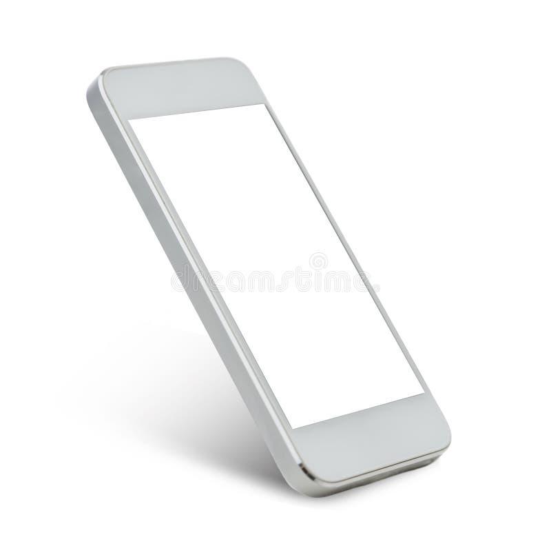 Белое smarthphone с пустым черным экраном стоковые фотографии rf