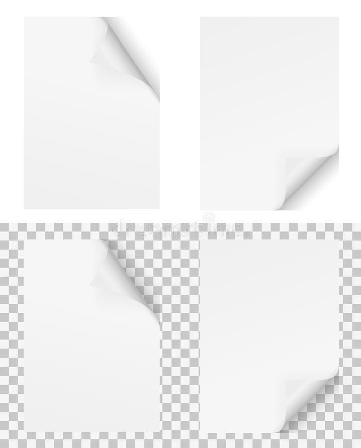 2 белой бумаги с окантованным углом бесплатная иллюстрация