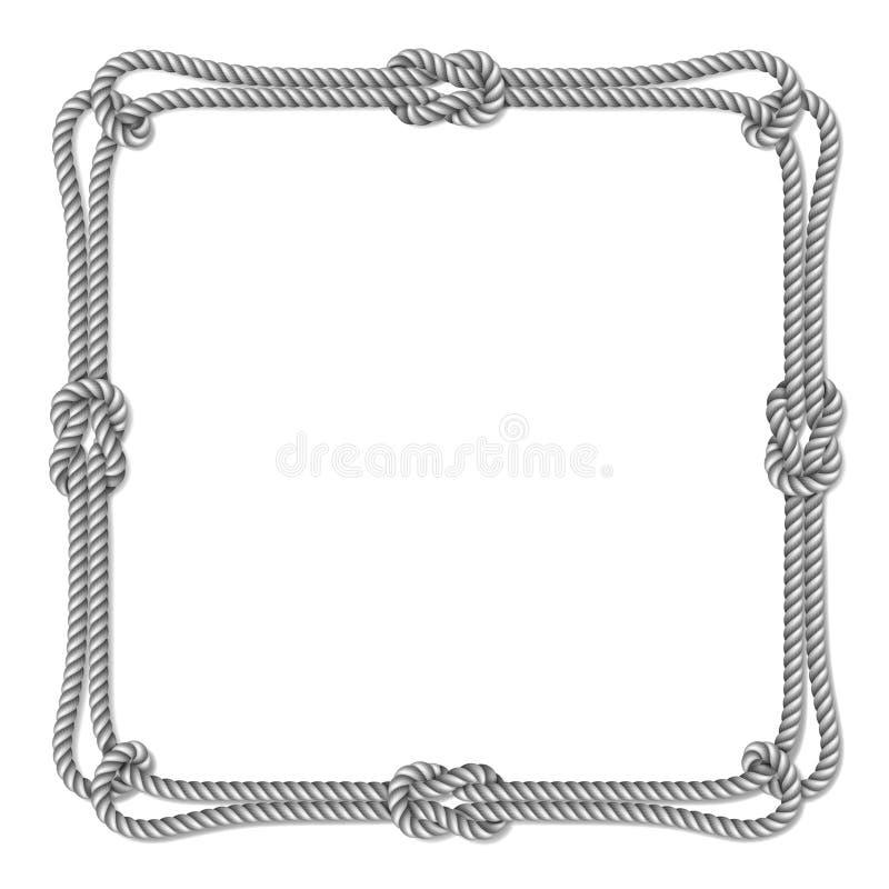 Белой граница сплетенная веревочкой вектора с узлами веревочки, квадратная рамка вектора, иллюстрация вектора