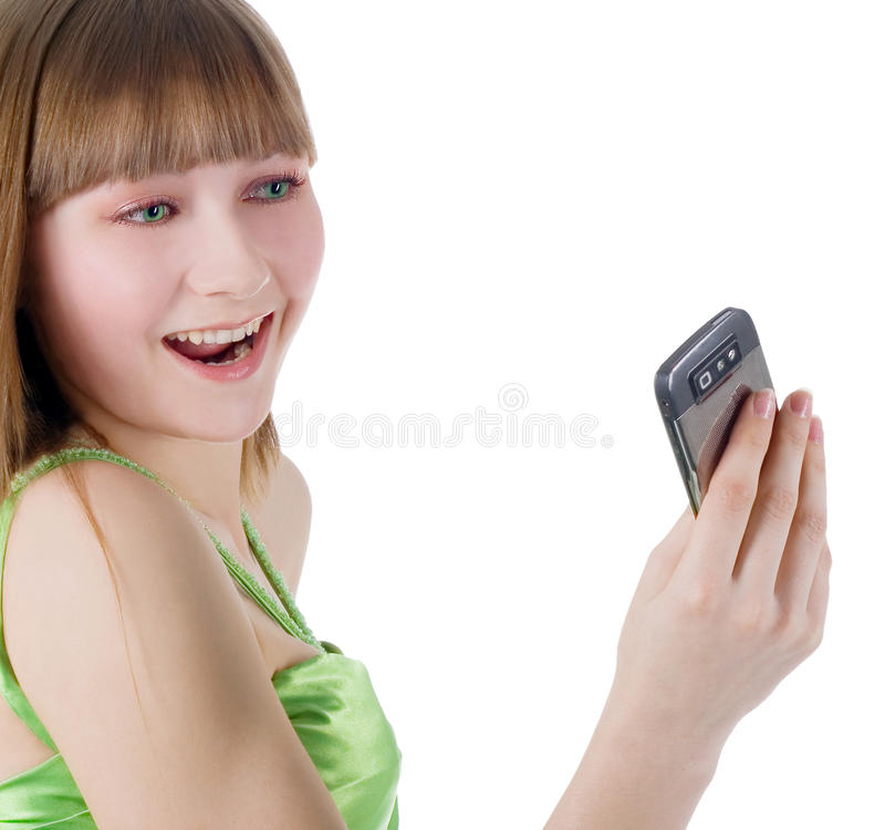 Download Белокурая девушка с мобильным телефоном на белизне Стоковое Изображение - изображение насчитывающей счастливо, сторона: 33729455