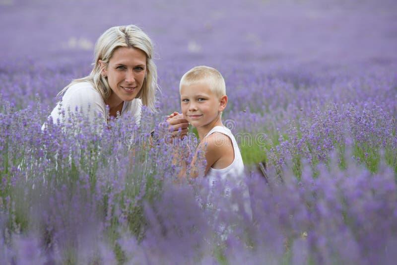 Белокурая мать и ее сын совместно в поле лаванды стоковая фотография rf