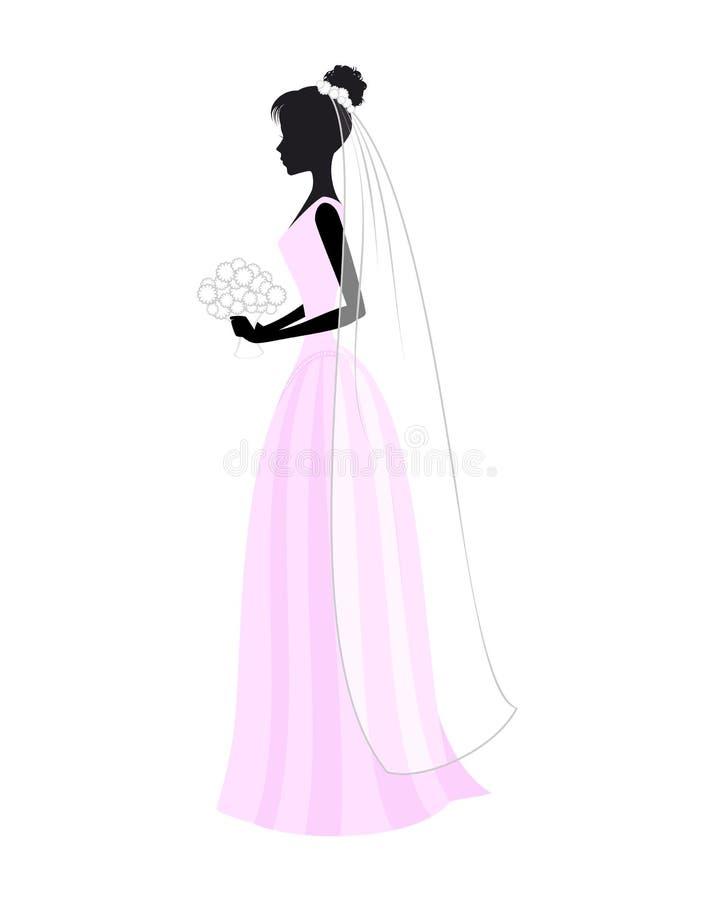 белокурые детеныши венчания платья иллюстрация вектора