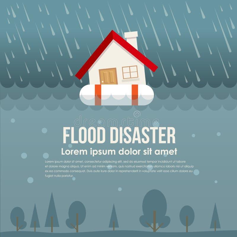 Бедствие потока с домом на кольце жизни в векторе нагнетаемой в пласт воды и дождя конструирует бесплатная иллюстрация