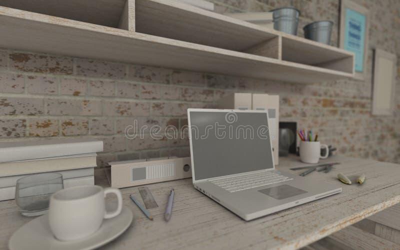 Белые внутренние стол и книжные полки иллюстрация штока