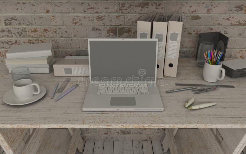 Белые внутренние стол и книжные полки бесплатная иллюстрация
