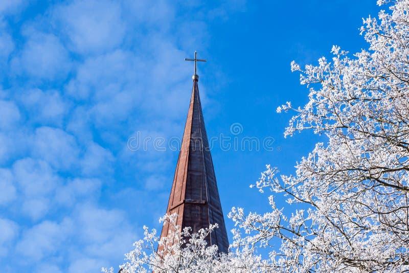 Белые дерево и церковь в зиме стоковая фотография rf