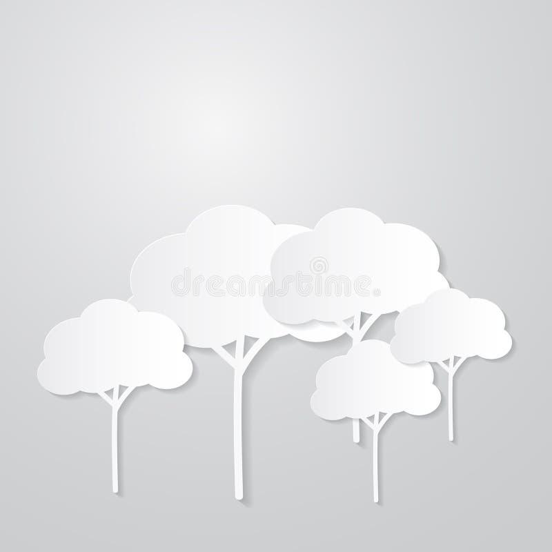 Белые деревья отрезанные от бумаги иллюстрация штока