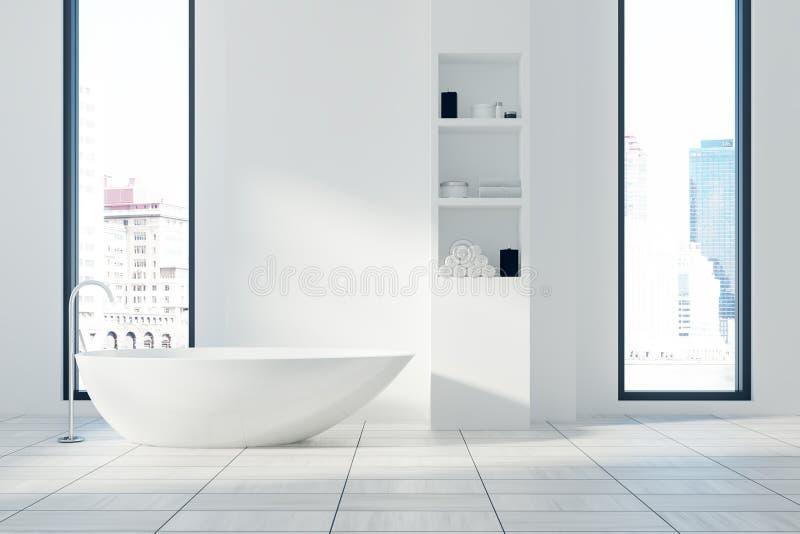 Белые интерьер, ушат и полки ванной комнаты бесплатная иллюстрация