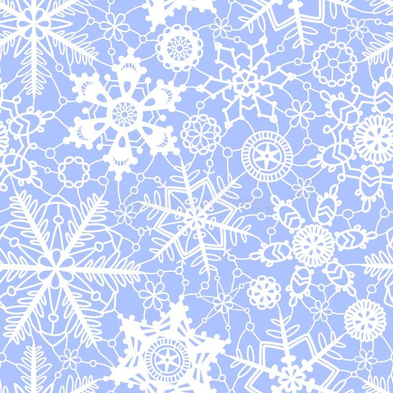 Белые и голубые снежинки безшовная картина вязания крючком шнурка, вектор бесплатная иллюстрация