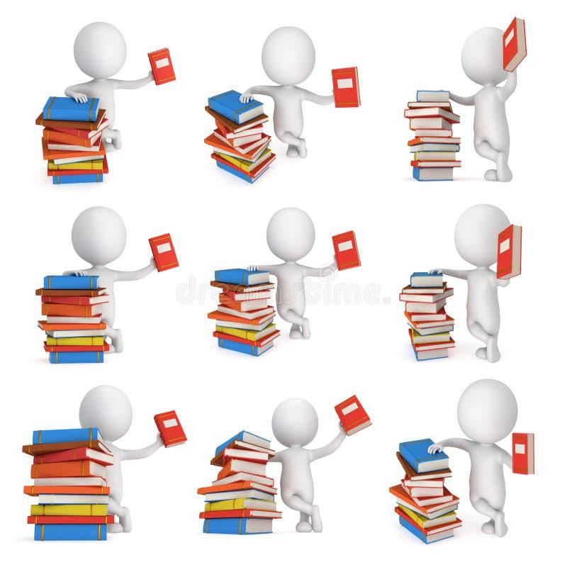 белые книги бизнесмена 3d и цвета иллюстрация вектора