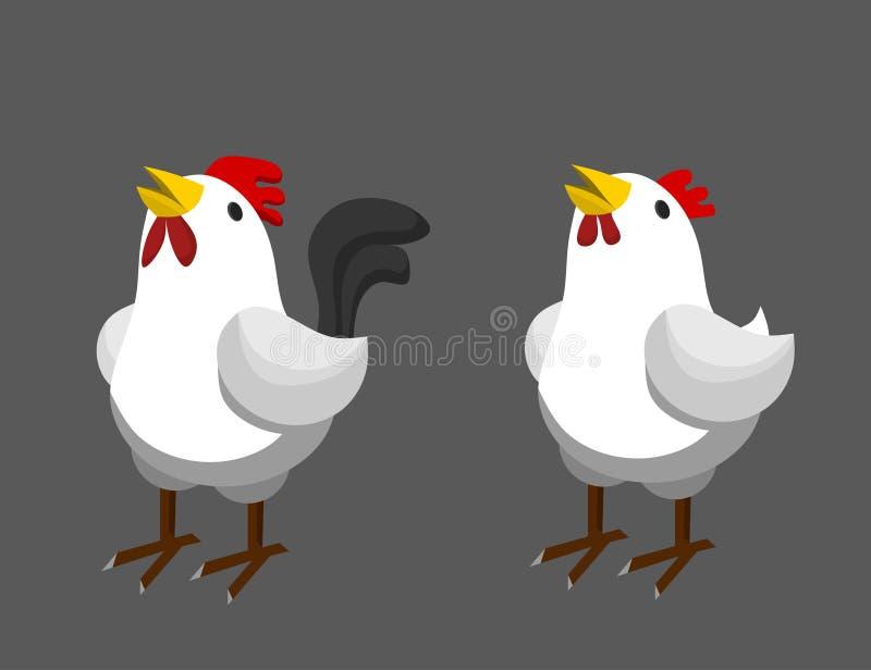 Белые курица и петух бесплатная иллюстрация