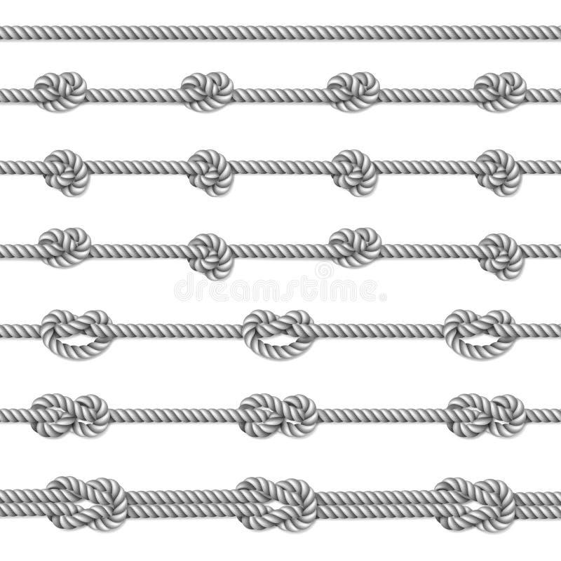 Белые морские узлы веревочки установили над бежевой предпосылкой иллюстрация штока