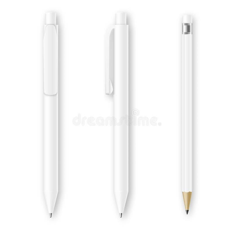 Белые модель-макеты вектора ручки и карандаша Шаблон канцелярских принадлежностей фирменного стиля клеймя иллюстрация штока