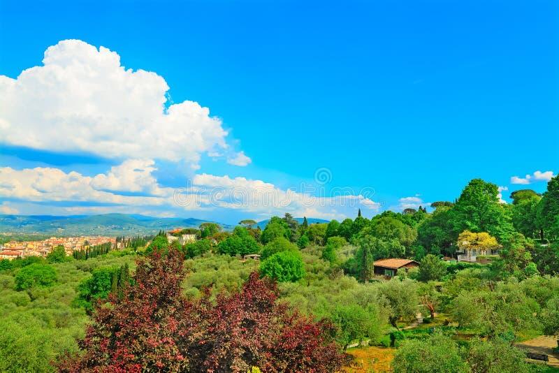Белые облака над пригородами Флоренса стоковое изображение