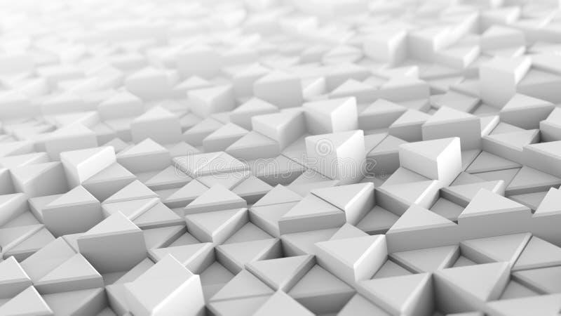 Белые прессованные треугольники абстрактное 3D представляют иллюстрация штока